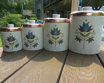Vintage 1950s to 1960s Ransburg White/Blue/Gold/Copper Top 4 Piece Canister Set Kitchen Tulip Flower Folk Art Storage Retro Decor Country