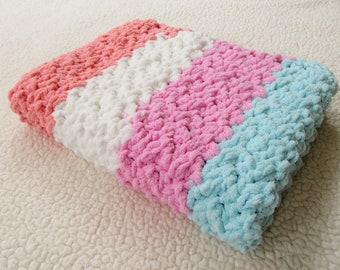 Baby Blanket, Chunky Baby Blanket, Crochet Afghan, Infant Gift, Newborn Blanket, Travel Blanket, Striped, New Baby Gift, READY TO SHIP