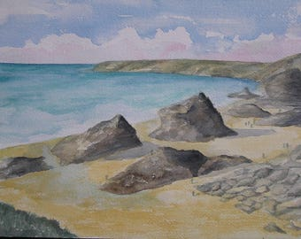 Watercolor Beach in Cornwall