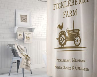 Tractor and Rooster  Shower Curtain, Rustic Primitive , Bath Mat, Bath Towels, Fickleberry Farm