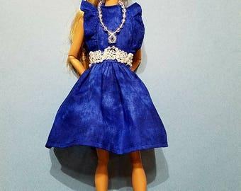 Barbie dress, Barbie clothes, Handmade, original, royal blue, necklace
