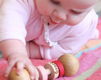 Personalized Wooden Baby Rattle - Choose your colors - an Heirloom Baby Toy