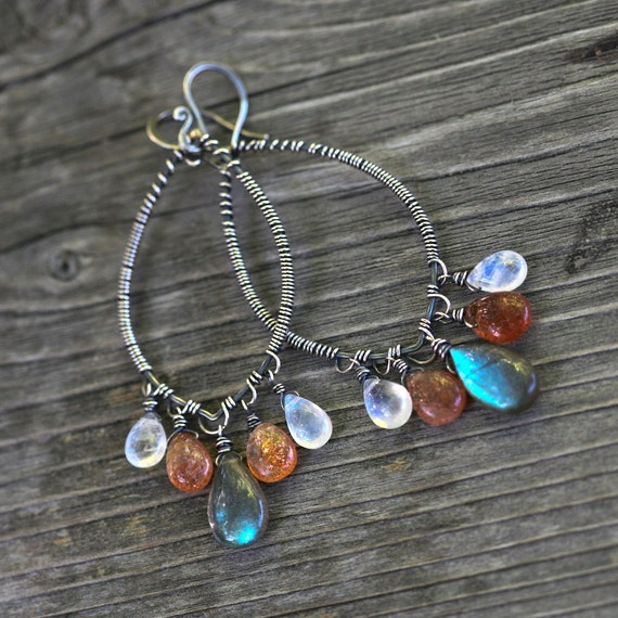 Labradorite Moonstone and Sunstone Sterling Silver Chandelier Wire Wrapped Earrings