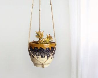 Fat Lava Hanging Planter | Vintage Macrame Plant Hanger and Mustard Yellow, Grey & Beige Ceramic Pot Holder by Bay Keramik | Modern Decor