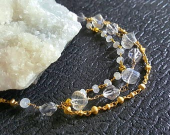 Rock Crystal Quartz Moonstone 3 Strand Necklace on Matte Gold Chain Gift for Her