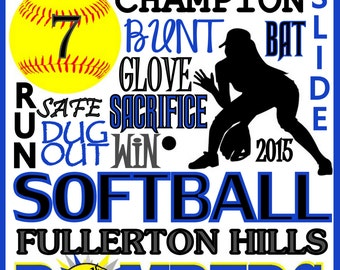 Softball Print - custom softball poster, softball team gift - softball poster - school softball sign - high school, college, youthsoftball,