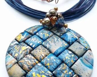 Polymer Clay pendant, Bohemian pendant,Colorful Jewelry,Polymer Clay jewelry,Boho Jewelry