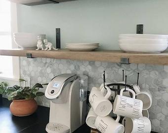Steel Shelf Bracket - Modern Kitchen Open Shelving, Iron Shelf Bracket, Industrial Kitchen Brackets, Metal Shelf Brackets, Custom