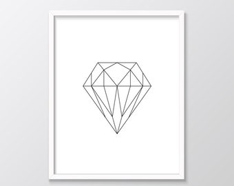 Top Selling Items, Diamond Print, Minimalist Wall Art, Top Sellers, Geometric Printable, Diamond Art, Minimal Print, Top Selling Shops