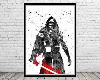 Star Wars inspired, Kylo Ren Star wars, Kylo Ren, Watercolor Art Print, Star Wars inspired, Sci-Fi, Art Print, Superhero Art(2060b)