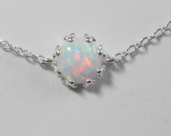 """Delicate Tiny Opal Sterling Silver Bracelet Adjustable Chain 7 to 8"""""""
