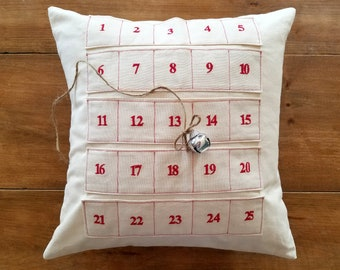 CLEARANCE/ sale / free shipping / advent calendar pillow / red / christmas pillow / countdown to christmas / jingle bell / decoration