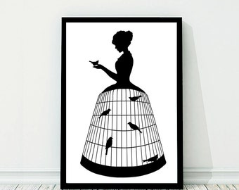 Birdcage Dress Large Silhouette Print Black and White Birds Victorian Unusual