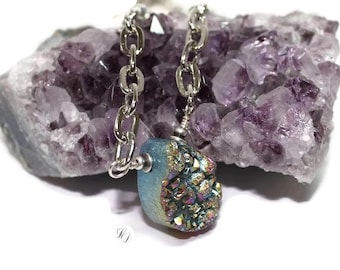 Womans Druzy Agate Necklace, Agate drop, with statement chain, womans necklace, Galaxy, boho, contemporary, boho, rocker, free shipping