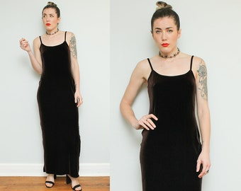Brown Velvet Maxi Dress // 90s Spaghetti Strap Long Stretchy Tank Dress Jump Apparel Gothic Grunge Size 7 8 Small