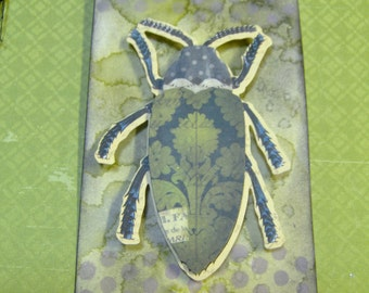 Bug Gift Tag -Vintage Style Ink Distressed-3 Dimensional Bug-Beetle Themed Gift Tag -Custom Water Mark Ink Distressed by Hand  - 1 MediumTag