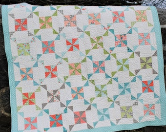 Baby quilt PATTERN, Lap, Twin, Full, Queen, King sizes Layer Cake, Fat Quarters, or scraps ...Windy Day