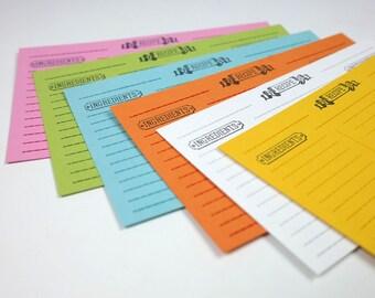 Letterpress Recipe Cards - Set of 12