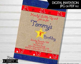Cowboy Birthday Party PRINTABLE Invitation by Fara Party Design | Western Theme Birthday | Sheriff Birthday