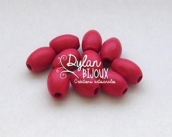 10 oval wooden beads / olives ' fuchsia' 10 x 16 mm