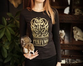 Art Nouveau Organic Shirt- For Strange Women shirt with irises, long sleeves, gold, taupe short sleeve