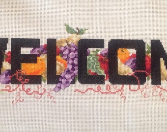 Cross Stitch Finished, Welcome, Fruits, Patio