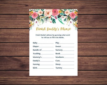 Floral Finish Daddy's Phrase Game, Navy Floral Baby Shower Game, Instant Download PDF Printable