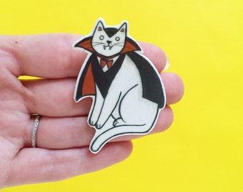 Cat pin - Cat Brooch - Halloween Cat Brooch  Vampire Cat - Dracula Cat- Unique Boutonnière