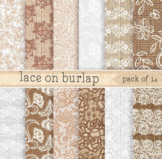 Burlap Lace Digital Paper Vintage Backgrounds Set For Rustic Wedding Cards Textures Floral Jute Twine From ZephyrDigital On Etsy
