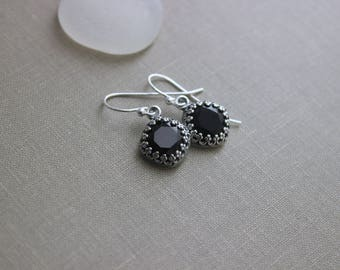 Black and Silver Swarovski Crystal Earrings - antiqued silver bezel  Sterling silver Ear wires - Jet Black Cushion cut crystals - Halloween
