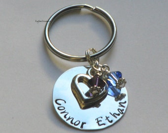 Hand stamped sterling silver keychain