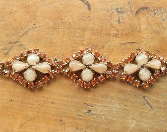 Vintage Amber Rhinestone Creamy Satin Glass Bracelet