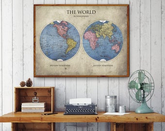 World map poster etsy world map poster world in hemispheres map print world map print vintage decor gumiabroncs Gallery