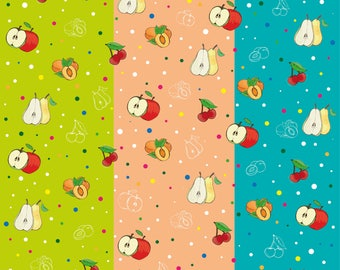 Pattern apples pears peaches, plums