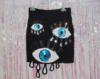 Black EYES ON YOU Sequin Evil Eye Applique Skirt --Made to Order-- Size Extra Small, Small, Medium, Large, Extra Large