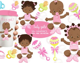 Baby Girl Clip Art, Baby Clipart, African American Baby Girl Clipart, Dark skin babies, Nursery Clipart, Commercial Use, AMB-835