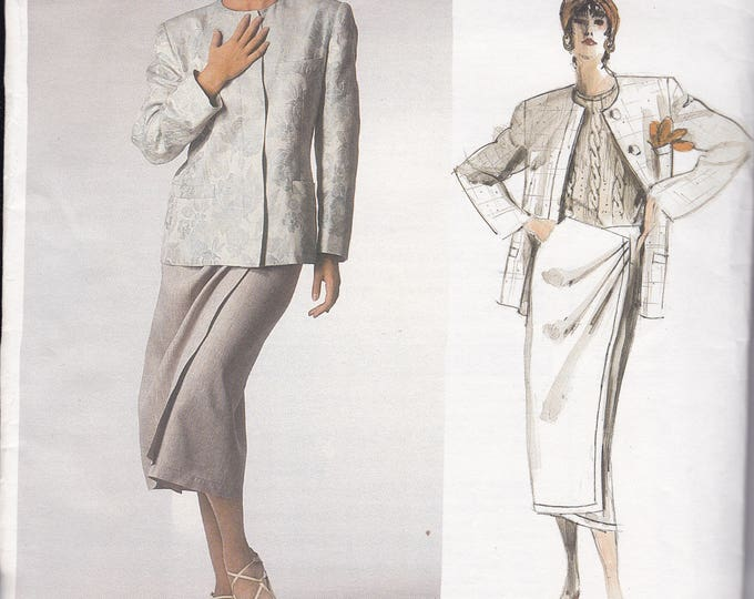 FREE US SHIP Vogue 1671 Designer Calvin Klein Sewing Pattern Uncut Size 12 Bust 34 Suit Jacket Skirt Wrap Draped