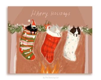 Christmas Cat Card - Stocking Stuffers- Happy Holidays- Christmas Cards - Funny Christmas Card