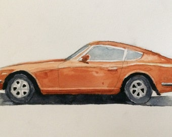 Datsun, Datsun 240z, car watercolor, Japanese car, Car art, car painting, child artist, child art