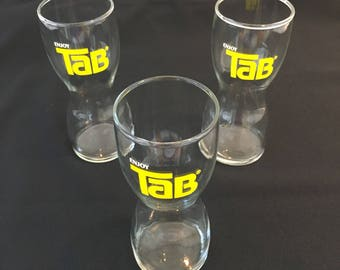 Vintage 1970's TAB Tumblers Set of 3  original Tab Cola hourglass shaped glasses
