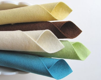 Wool Felt, Nantucket Color Story, 8x12 Felt Sheets, 100% Merino, Wool Fabric, Baby Yellow, Light Green, Bermuda Blue, Ecru, Brown, Applique