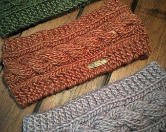 Hand Knit Cable Alpaca Headband