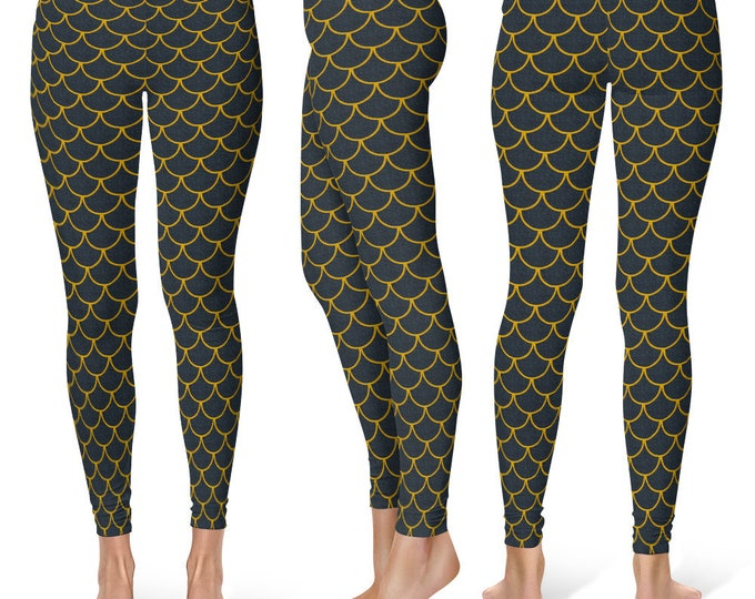 Black and Gold Leggings Yoga Pants, New Year's Yoga Tights, Mermaid Scales, Dragon Scales