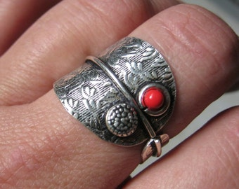 FREE SHIPPING Red Coral Sterling Silver Ring Adjustable 8 - 10