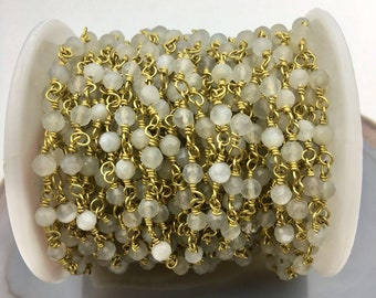 4mm faceted Monnstone Gold Plated Rosary Gemstone Chain. Sale by Foot