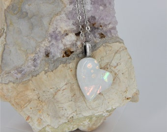 Heart fused Glass Long Necklace, Long necklace with small pink white, Dichroic Glass necklace heart pendant in stainless steel