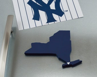 """New York Yankees """"State Heart"""" Magnet, handcrafted wood with official team colors"""