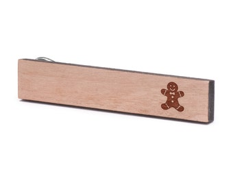 Gingerbread Man Tie Clip, Wood, Gift For Him, Wedding Gifts, Groomsman Gifts, and Personalized