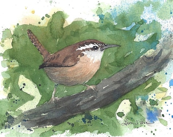 Wren Watercolor Print from an Original Watercolor Painting by Laura Poss - 5 x 7 inches - Wren Bird Art, Giclee Reproduction