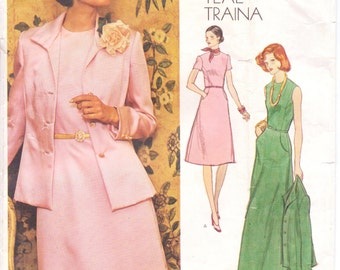70s Teal Traina Womens Jacket & Princess Seamed Dress Vogue Americana Sewing Pattern 1184 Size 16 Bust 38 Mother of the Bride